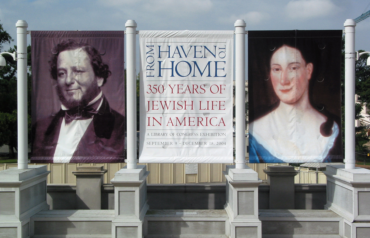Exterior banners establish a theme of the many faces of Judaism in America.