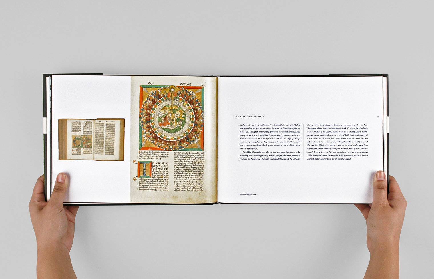 "Most of the book is devoted to treasures from the Folger's collection including the 1483 ""Biblia Germanica"" shown here."