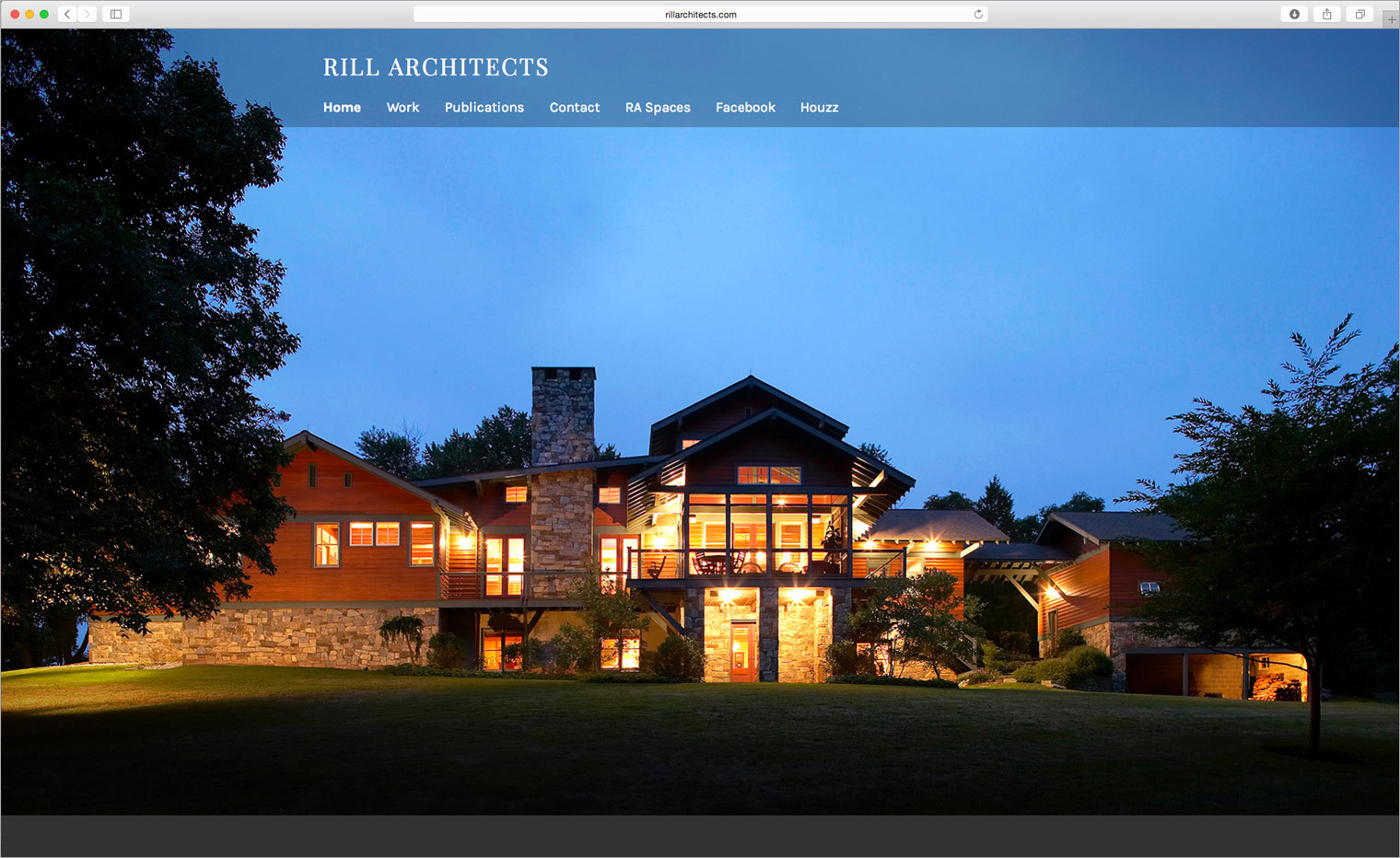 Home page of the Rill Architects website.