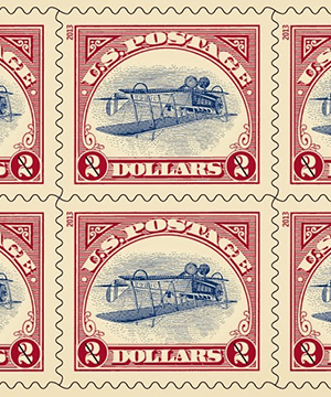Thumbnail image of the Inverted Jenny Reissue stamp for the United States Postal Service