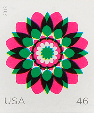 Thumbnail image of the Kaleidoscope Flowers stamp for the United States Postal Service