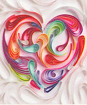 Thumbnail image of the Quilled Paper Love Heart stamp for the United States Postal Service