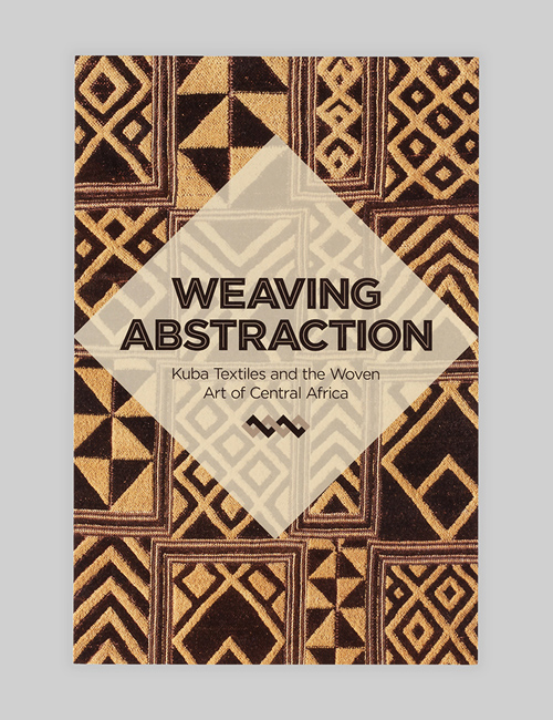 Thumbnail image of the exhibition identity on the gallery guide for Weaving Abstraction for the Textile Museum.