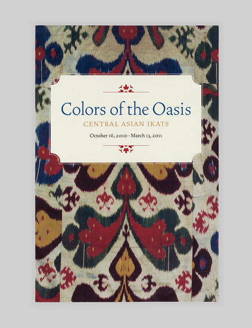 Thumbnail image of the exhibition identity on the gallery guide for Colors of the Oasis for the Textile Museum.